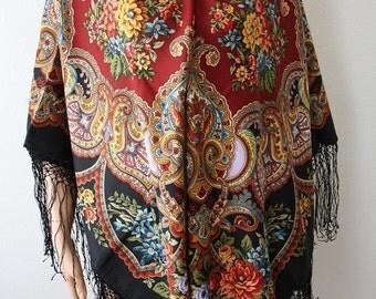 Russian Pavlovo Posad Shawl 148x148 (58х58) 100% Wool