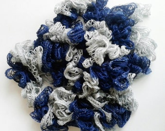 Blue and Silver Scarf, Blue and Gray Ruffle Scarf, Crochet Lace Scarf, sashay ruffle scarf, Gift for Her, Lacy Scarf, Football Apparel