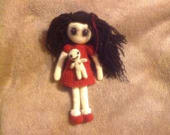 Tiny goth girl and her voodoo teddy