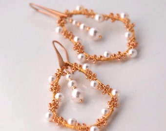 Big Gold Earrings with Pearls Bridal Earrings Gold Snowflake Earrings Winter Wonderland Wedding Jewelry Women's Gift under 50 Pearl Earrings