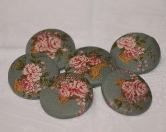 "Fabric Buttons, Flower Bouquet Fabric Covered Buttons - 1.25"" 6's"