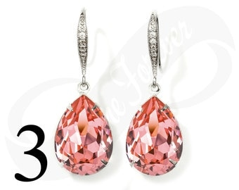 Set of 3 Bridesmaid Peach Earrings Peach Rose Earrings Set of 3 Bridesmaid Gifts Teardrop Earrings Pink Bridal Jewelry Wedding Jewelry Gift