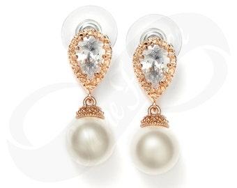 Rose Gold Earings Rose Gold Jewlery Bridesmaid Rose Gold Earrings Bridal Pearl Earring Wedding Rose Gold Jewlery Bridesmaid Gift Pearl