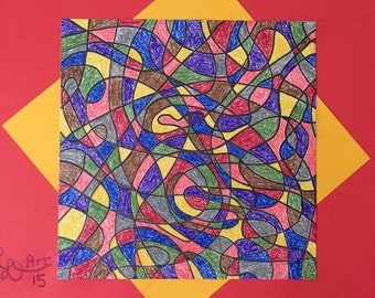 Abstract Stained Glass Drawing 2A