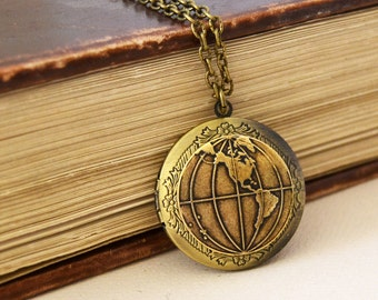 World Globe Locket, Vintage Brass Locket, Antique Brass Locket, Vintage Photo Locket, World Traveler Locket Necklace