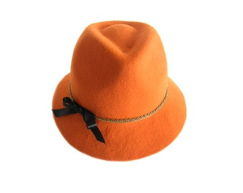 Hat fedora Nadia by felt orange