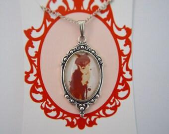 Vintage watercolour Fox silver necklace