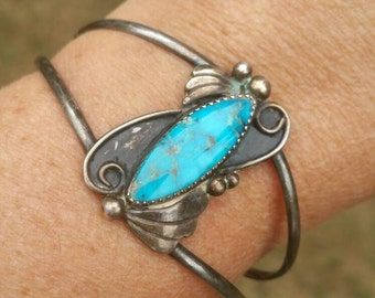 Sterling southwestern turquoise cuff bracelet