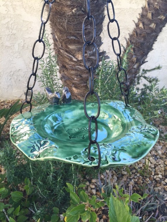 Lovebirds Hanging Bird Bath Green Hanging Bird Feeder Ceramic