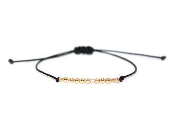 """BFF // """"Morse Code"""" Nylon Cord Bracelet (14k Gold Filled) - Dainty, Simple, Best Friend, Best Friends, BFF Bracelet, BFF Morse Code"""