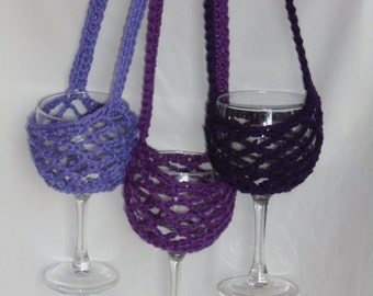 Crochet Wine Glass holder with neck strap, custom made, book club gift, wine tasting gift, gag gift, Wine glass cozy, 44 colors