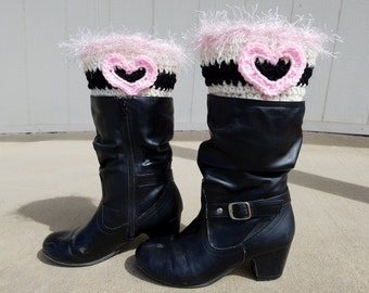 Valentine Themed Boot Cuffs, Boot cuffs, Leg warmers, Calf Warmers, Heart themed, Love themed
