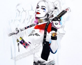 "HARLEY QUINN (watercolor) Limited Edition Print on Watercolor Paper 20""x30"" - Free Shipping in United States"