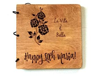 Custom Hand Engraved Album - Scrapbook - Journal - Guest Book - Wedding - Birthday - Graduation - Baby Shower - Retirement - Personalizable
