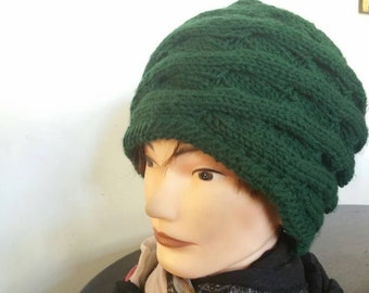 Green Hand Knit Cable Hat Mohair And Acrylic