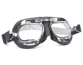 Halcyon Mark 49 Classic Goggles / Black Leather Facemask / Hand-Stitched onto Chrome Plated Frames / For Open Faced Motorcycle Helmets