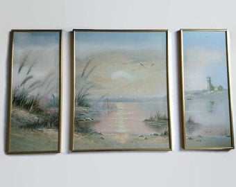 Vintage triptych painting, triptych picture, triptych nature painting, lighthouse painting, triptych shore picture, triptych sea painting