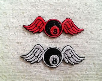 Set 2 pcs. White & Red Snooker Billiard Ball No.8 Angel Wings New Sew / Iron On Patch Embroidered Applique Size 6.3cm.x2.1cm.