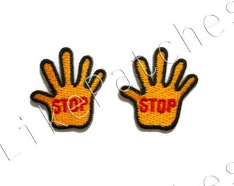 Set 2pcs. Stop Sign - Little Orange Yellow Color Hand Stop New Sew / Iron On Patch Embroidered Applique Size 3cm.x3.3cm.