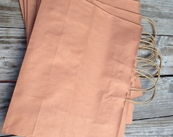 20 Pack- Rose Gold/ Copper Kraft Shopping Bag 16x6x12