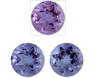 Lavender Alexite Synthetic Color Change Loose Gemstones Set of 2 Round Cut 1A Quality 7mm TGW 2.00 cts.