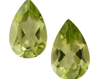 Hebei Peridot Loose Gemstones Set of 2 Pear Cut 1A Quality 8x5mm TGW 1.60 cts.