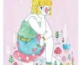 Mushroom Babe // A4 Giclee Print