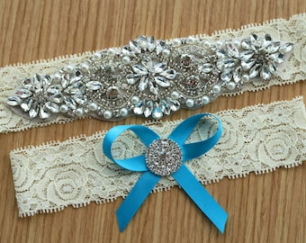 Bridal garter sets,vintage lace garter set ,Ivory Garter sets, Wedding garter , with hair bow,with Pearl Crystal Rhinestone, WD37