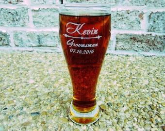 Groomsmen Gift, 19 Personalized Pilsner Beer Glass