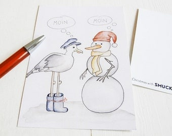 Postcard, card, Designkarte with illustration - gull and Mr. snowman