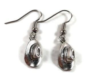 Cowboy Hat Earrings, Cowgirl Earrings, Western Jewelry, Texas Jewelry, Country Western Earrings, Gifts Under 5 Dollars, Women's Gift Idea