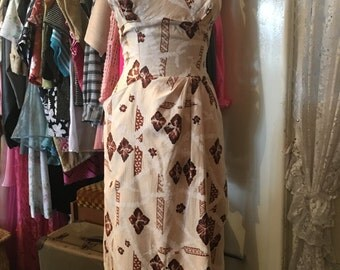 1950s 50s Hawaiian Sarong Dress by Tiki sports wear Sportswear