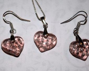 Pink Heart Set All Sterling Silver