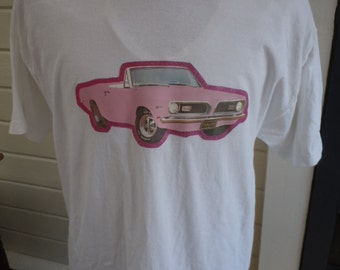 Size XL (49) ** 1970s Barracuda Muscle Car Shirt (Single Sided)
