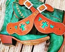Western Spur Straps Handtooled Basketweave With Custom Insert