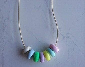 Pastel Coloured Polymer Clay Necklace