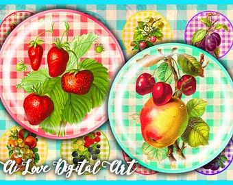 Digital collage sheet instant download Colors Fruit 1.5 inch, 30mm, 1 inch circle digital download cabochon bottlecap images, jewelry making