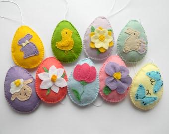 Felt easter egg, Easter ornaments, easter decorations, felt egg with daffodil, tulip, violet flowers flower, bunny, lamb, Spring Decoration
