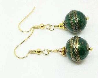 Dark green earrings, gold and green earrings, green drops, green dangle gold earrings, big green earrings, greenish earrings