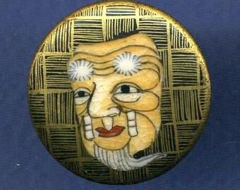 Button - Satsuma Noh Mask 'C'