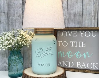 Hand Painted Gallon Mason Jar Lamp, Seafoam, Lamp, Mason Jar, Lighting, Lamp, Home Decor, Home Lighting, Farmhouse, Country, Shabby Chic
