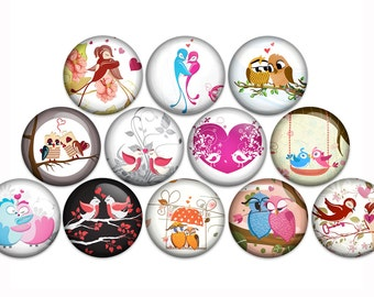 "Love Birds Pin Back Button Badge or Magnet (1"" or 1.25"" Pack of 12)"