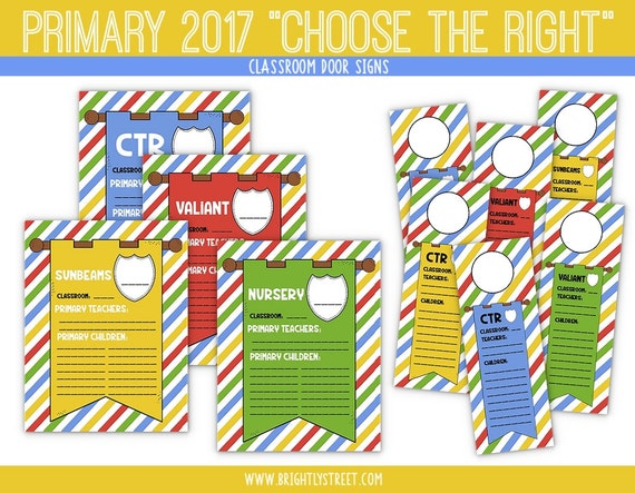 LDS Primary 2017 Choose the Right Door Signs