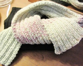 scarf Hand Knitted Long soft dusty rose  & sage green New 54""
