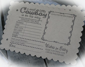 COWBOY BABY Shower Games-set of 25-75 |  Cowboy Baby Predictions | Western Baby Shower Advice for the Mommy & Daddy | Cowboy wishes for Baby