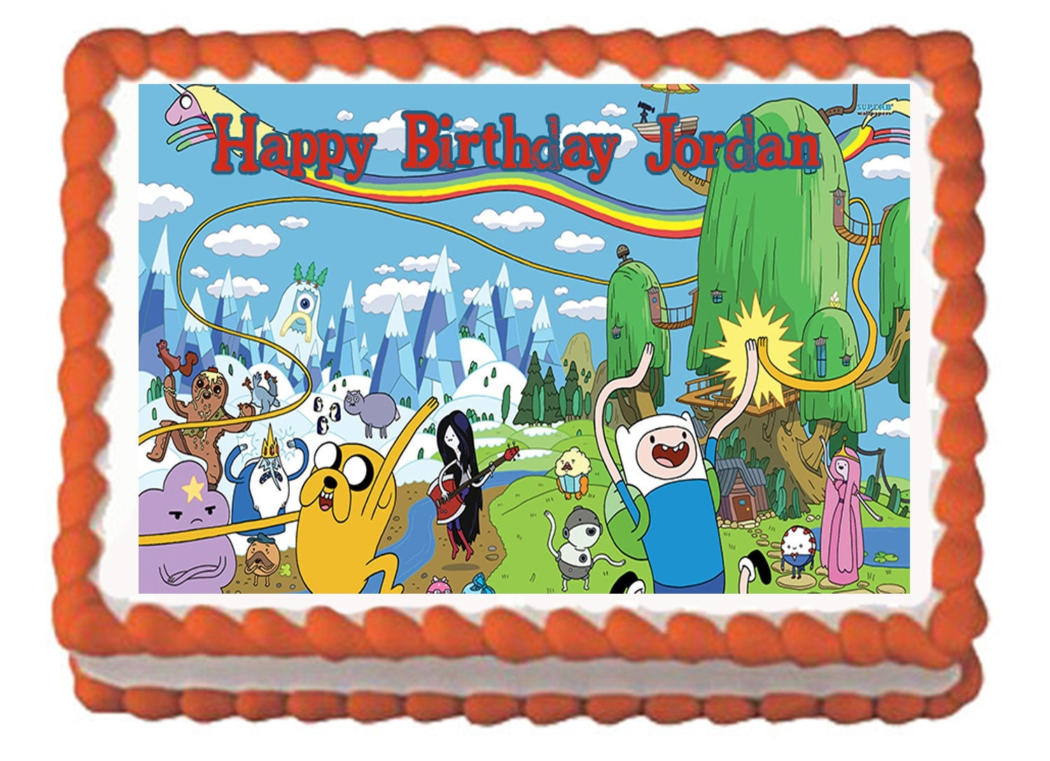 Edible Cake Images Kosher : Adventure Time Edible Cake Topper with FREE Personalization