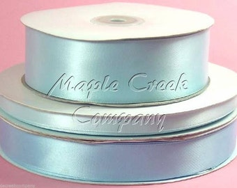 5/8 inch x 100 yards of Light Blue Double Face Satin Ribbon