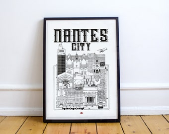 Illustration City - series Nantes * Travel With Me *. Black and white. 32 x 45 cm