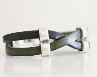 MENS LEATHER BRACELET - Men's jewelry - Gift for him - Bracelet for men - Leather silver bracelet - Men gift - Gift idea