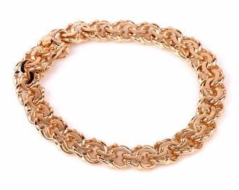 Vintage 18K Yellow Gold Byzantine Link Bracelet